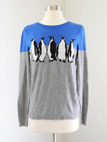 Talbots Cute Color Block Penguin Print Sweater Size S Lambswool Blue Gray