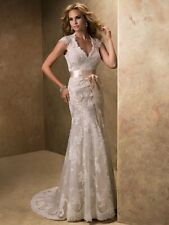 MAGGIE SOTTERO WEDDING DRESS 'BRONWYN' #12623 IVORY OVER LIGHT GOLD LACE SIZE 22