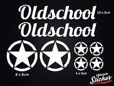 Oldschool US Army Stern Auto Aufkleber Set Star Sticker Hotrod Rat Weiß Schwarz