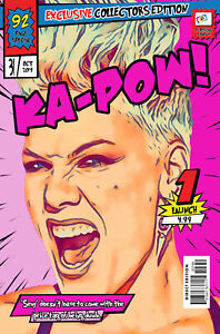 Pink Comic Book Covers Art Print (Available In 4 Formats)