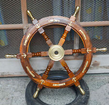 Wooden Wheel, Ships Wheel Helm 24 Inch Dia Nautical Wheel For Wall Pirates Decor