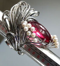 One-Of-A-Kind Designer Ring 18K gold huge 18ct pink tourmaline and pearls size 6
