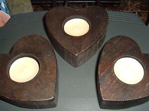 HEART TEA LIGHT  HOLDERS   WOODEN  SET OF THREE (3)  DARK STAINED   TEA LIGHTS