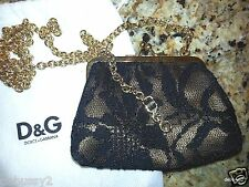 NWoT Dolce & Gabbana D&G Lace Kisslock Coin Purse Crossbody Mini Bag Chain Black