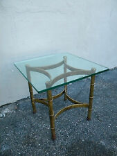Hollywood Regency Mid Century Glass Top Gold Leaf Side End Table 2811