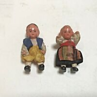 "Vintage Edi Germany Celluloid Dolls Boy & Girl Jointed Original Clothes 3"" Set 1"