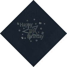 18th Birthday Luxury 3 Ply Napkins in BLACK