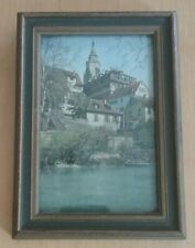 Antique Germany Small Art Print Wooden Frame Church Town River