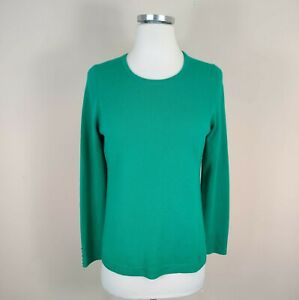 Talbots Womens Pure Cashmere Sweater Pullover Long Sleeves Green S Small