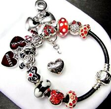 "MICKEY MINNIE MOUSE DISNEY CHARM BRACELET LEATHER 6.7"" CHILD OR 8"" ADULT"