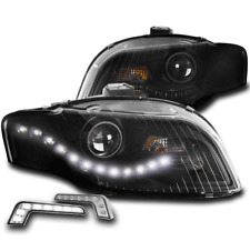 FOR 05-09 AUDI A4 S4 B7 DRL LED BLACK PROJECTOR HEADLIGHT LAMP W/DRL SIGNAL PAIR