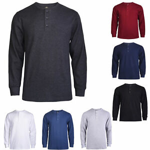 Mens 100% Cotton Waffle Knit Henley Thermal Top Thick Long Sleeve Undershirt