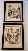Lot of 2 Framed Charcoal Lithograph Drawings San Juan PUERTO RICO, P Sigal, 1974
