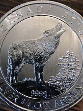 "(2015) ""Canadian Grey Wolf""  3/4 Oz .9999 Silver Coin ~(RCM Wildlife Series)"