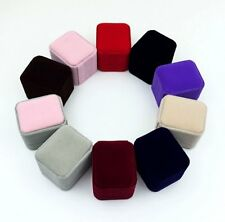 1 Pcs Velvet Jewelry Earring Ring Display Storage Square Box Case random Color