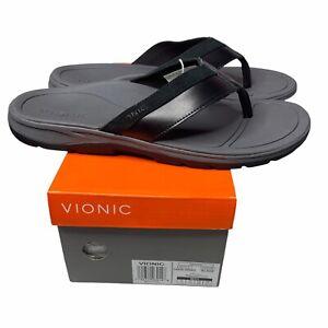 Vionic Canoe Dennis Men's Orthotic Sandal Flip Flop Black 13 Medium Black New