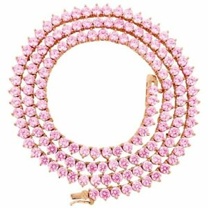 Lab Diamonds 3 Prong 4MM Necklace Rose Gold Finish Pink 18-24'' Tennis Chain