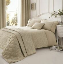 Natural White Beige Floral Piped Embroidered Single Duvet Cover