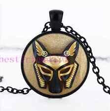 Steampunk Anubis Photo Cabochon Glass Black Chain Pendant Necklace