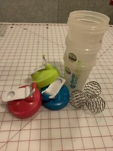 Classic Blender Bottle 20oz Set/Lot Of 3 Green Pink Teal Shaker Mixer Metal Ball