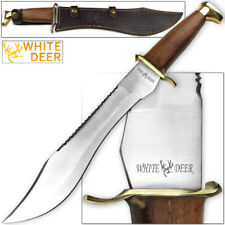 WHITE DEER MAGNUM Dave Dundee Bowie Knife Jungle Sawback Serrated Spine w Wood H