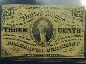 March 3, 1863 Fractional Currency Third Issue 3C Three Cents Note Washington