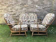 Ercol Sofa Plus 2 Arm Chairs 1960s Vintage Retro Elm Beech Blonde