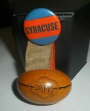 vintage 1940s SYRACUSE Orange Pinback BUTTON ribbons & tin melon football charm