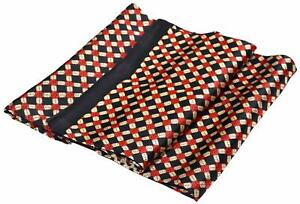 Black Red Cream Squares Printed Double Layer Long Pure Silk Scarf (M481)