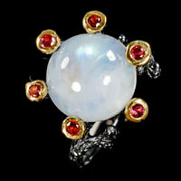 Whosale Fashion Natural Moonstone 925 Sterling Silver Ring Size 7/R83425