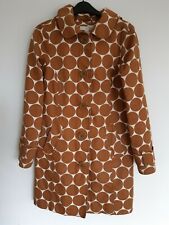 Ladies Boden Spot Dots Coat Coffee Brown & White Size 8