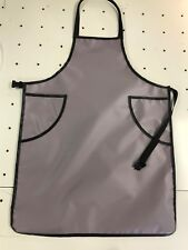 """Apron Waterproof Vinyl Gray Brown  27""""x 36"""" with pockets"""