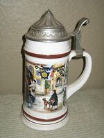 White Glass Mug Beer Stein Horse & Carriage Germany with Pewter Lid