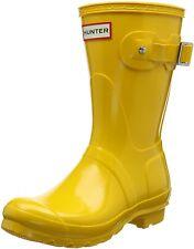 Hunter Original Short Gloss Ladies Yellow Boots 6