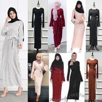 Muslim Women Long Maxi Dress Robe Vintage Pleated Kaftan Dubai Islamic Party New