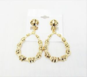Gold Plated Teardrop Bamboo Dangle Drop CLIP ON Fashion Earrings Clip-ons #066