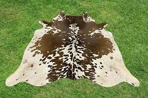 Cowhide Rugs Brown Real Hair on Cow Hide Skin Leather Area Rug 5 x 5 ft Medium