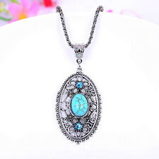 "Silver-tone Turquoise Pendant Necklace 1 7/8"" x 1 1/8"" with 18"" Chain (00651)"