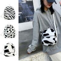1x Cow Print Shoulder Schoolbag Women Girl Plush Mini Backpack
