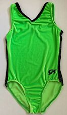 Gk Elite Girls Gymnastics Leotard Lime Green with Black Trim Axs