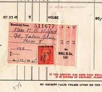 COMMERCIAL SECURITY OVERPRINT INVOICE BILL HALL & CO COAL COKE HOVE SUSSEX 1945