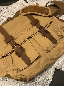AUGUR STRAUSS & CO. Canvas & Leather  CROSSBODY MESSENGER BAG 14X12X4 Tan Brown