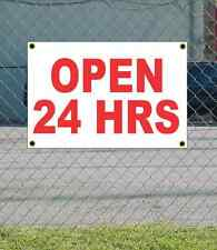 2x3 OPEN 24 HRS Red & White Banner Sign NEW Discount Size & Price FREE SHIP
