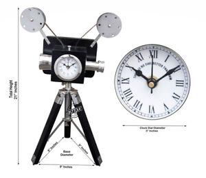 Vintage Wooden Clock Black Analog Studio Decor Projector Camera Antique Gift New