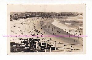 EARLY BONDI BEACH  c.1930s Vintage REAL PHOTO postcard Sydney NSW AUSTRALIA