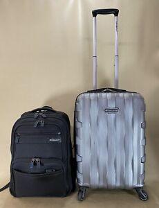 Samsonite Carry On Set Grey Hardside Spinner Suitcase & Black Laptop Backpack