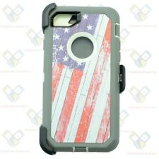 For Apple iPhone 8 Defender Case Cover w/ Belt Clip fits Otterbox USA Flag