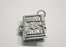 VINTAGE STERLING SILVER CHARM BRACELET CHARM HOLY BIBLE 4.5 GRAMS OPENS !