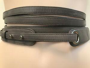 SARAH PACINI-Italy Grey Leather Wrap Around Dual Strap Womens Belt suit L 14/16