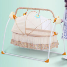 Portable Electric Baby Swing Cradle Bassinet Rocking Crib Infant Bed w/Pillow